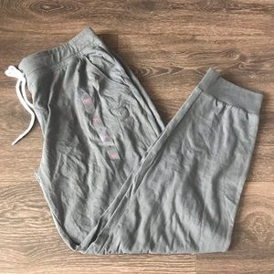 Grey PINK Skinny Joggers Size Large New